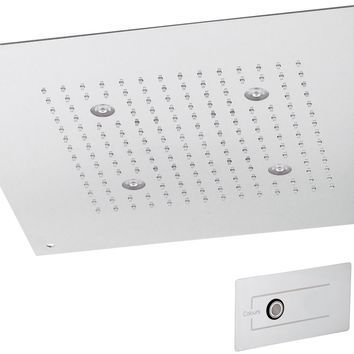DI Ceiling Stainless Steel Square Shower Head Rainfall 8 Color LED Lights