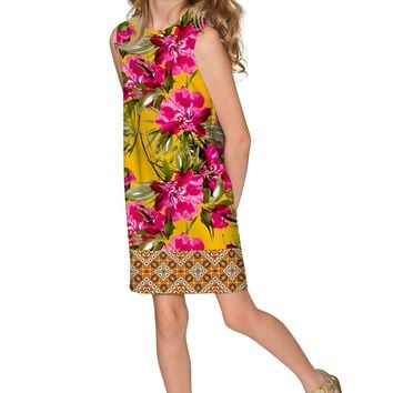 Indian Summer Adele Pink & Yellow Floral Shift Dress - Girls