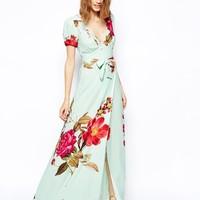 ASOS Wrap Maxi Dress in Rose Print