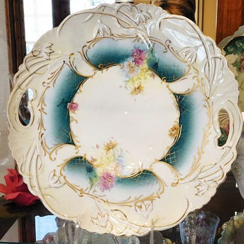 """RS Prussia Large Charger 12"""" 1900s Art Nouveau Porcelain R S Prussia Cake Plate Platter Plate Antique Victorian Rare Large Size RS Prussia"""