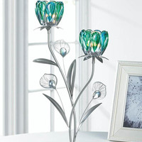 Peacock Double Bloom Stem Flower Candle Holder