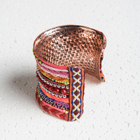 Multicolor Bead Detail Plaited Strap Chunky Cuff Bracelet