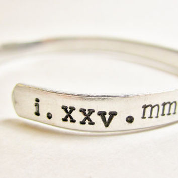 Roman Numeral Bracelet, Roman Numeral Jewelry, Hand Stamped Bracelet, One Year Anniversary Gift, Dating Gift, Girlfriend Gift, Date Jewelry