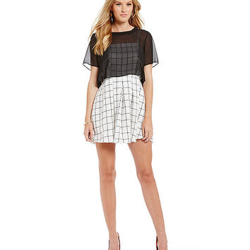 BCBGeneration Plaid-Print Overlay Tweed Cocktail Dress | Dillards