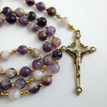 Flower Amethyst Rosary, Gold Crucifix, Natural Stone Beads, Purple Rosary, Catholic Prayer Beads, Confirmation Gift