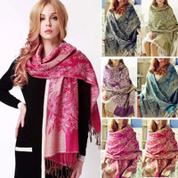 2014 New Warm Scarf 190*70CM Scarfs Flower Pattern Retro Autumn Pashmina Scarves SV005413 Apparel & Accessories = 1930474884