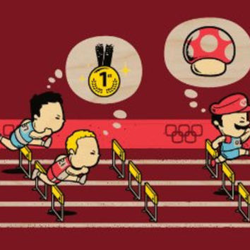 'Hurdles Champion' Funny Video Game Parody w/ Italian Plumber Race - Plywood Wood Print Poster Wall Art