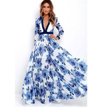 Elegant Women Fashion Floral Print Boho Style Long Dress Ladies Sexy V-Neck Full Sleeve Maxi Dress Forma Prom Party Dress