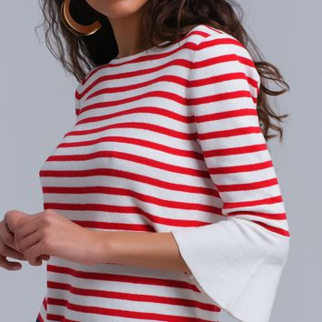 Red striped sweater with bell sleeves