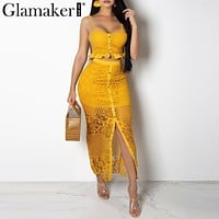 Glamaker Hollow out sexy yellow long dress Women lace ruffle button sundress Bodycon summer party dress night vestidos de festa