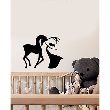 Vinyl Wall Decal Deer And Girl Princess Fairy Tale Animal Stickers (3725ig)