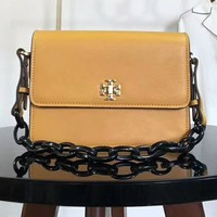 Tory Burch Bag Black Chain With PU Straps Women Flag Print Shoulder Bag B-AGG-CZDL Yellow
