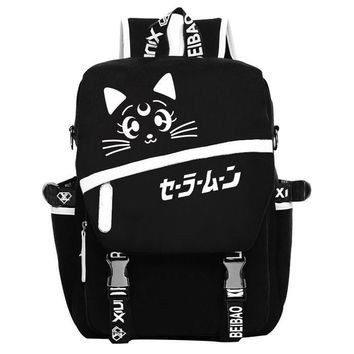 Anime Sailor Moon Cosplay Sailor Moon Cos Night backpack canvas bag male and female student backpack child birthday gift