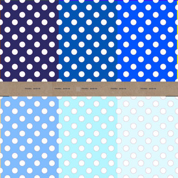 Polka dot digital paper - 6 sheets of shades of blues for scrapbooking