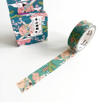 Japanese Art Washi Tape 7m, planner supplies, japan birds masking tape, pretty crane washi tape, journal tape, japanese stationery, cranes