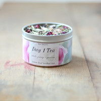 Day 1 Tea, Yarrow, Raspberry Leaf and Rose Tea, Organic Loose Leaf Tea, 1.5 Ounce Tea Tin