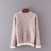 Autumn Women's Fashion Korean Winter Slim Knit Long Sleeve Sweater [8542236167]