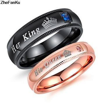 "Cool 1Pc ""His Queen"" and ""Her King"" Couple rings for loversAT_93_12"
