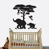 Elephant Mom and Baby Calf with Monkey and Tree Vinyl Wall Decal Sticker Graphic