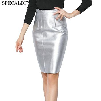201T New Fashion Metallic Black Silver Gold Faux leather Skirt Women High Waist Bodycon Pencil Skirts Womens Sexy Sasia Faldas