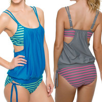 Sexy Plus Size  Multicolour Stripes Tankini Swimsuit