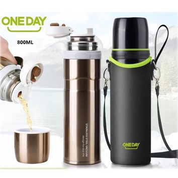 ONEDAY 800ML/450ml Thermos Cup Double wall Thermo Tumbler Vacuum flask Insulated Bottle Thermal Bottle For Water Glass Tumbler