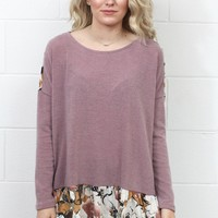 Back Up Velvet Floral Ruffled Knit Sweater {Mauve}