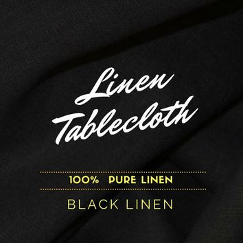 Black Linen Tablecloth. Natural Linen Tablecloth. Solid Black Linen Fabric. Extra Long Tablecloth 54x 120