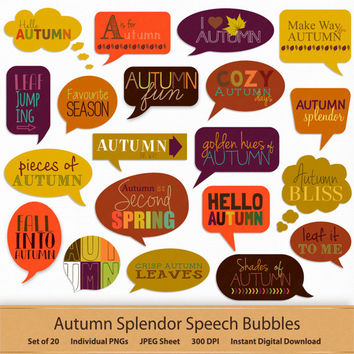 Autumn Digital Speech Bubbles Printable Stickers Clipart Label Callout Clip Art Shoutout Word Speech Quotes Phrases Scrapbook Commercial Use