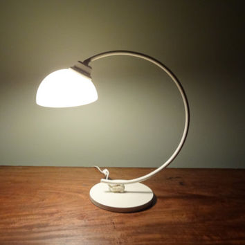 Vintage Mid Century Modern White Metal Desk Lamp or Table Lamp