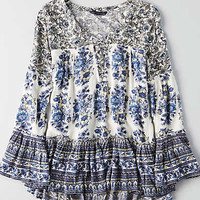 AEO Lace-Up Bell Sleeve Top, Blue