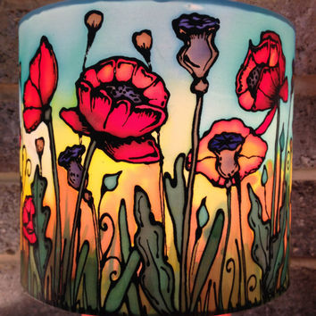 Poppy Field Sunset, Hand Silk Painted Lamp Shade, 20cm Drum, Made To Order.