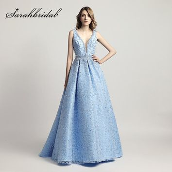 Heavy Pearls Beaded Luxury Ball Gown Celebrity Dresses Sexy V-Neck Red Carpet Dress Sky Blue Formal Evening Party Gowns LX442