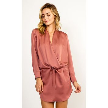 One True Pairing Satin Long Sleeve Cross Wrap V Neck Drawstring Waist Mini Dress - 4 Colors Available