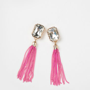 Haven Hot Pink Crystal Tassel Earrings
