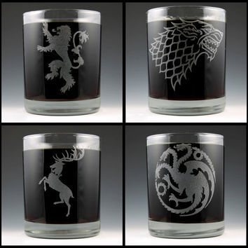 Game of Thrones House Lowball Rocks Glass Set by EmporiumOfFluff