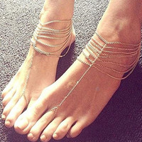Cupshe Delicate Multi-layered Wave Anklet