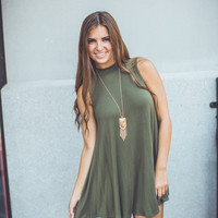 Turtle Neck Shift Dress in Olive