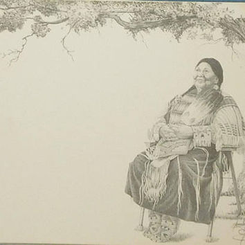 Signed Etching Pencil Drawing Artist Bob Annesley Signed in Pencil with Makers Mark Sitting Pretty Woman Unnumbered Unframed with Mat