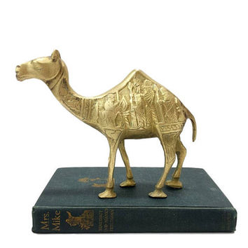 Vintage Brass Camel Figurine Carved Three Wise Men Nativity Scene Magi Kings Christmas Decor Etched Engraved Desert Animal Dromedary Statue
