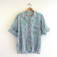 20% OFF SALE...Vintage striped Button up shirt / oversized top