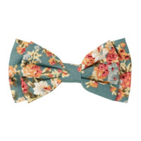 Floral Vintage Blue Hair Bow