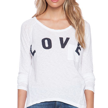 SUNDRY Love Raglan Tee in White