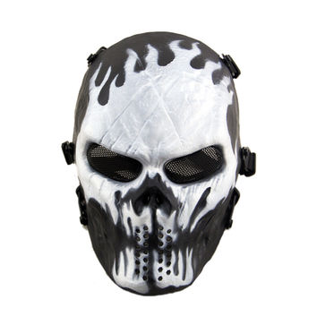 Average Cosplay Black Full Face Adult Skull Mask Airsoft Paintball Tactical Costume Scary Mask For Halloween Christmas Party