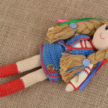 Handmade crochet soft doll Ukrainian Girl in ethnic clothes with head wreath