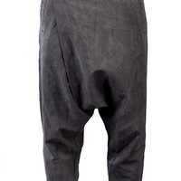 SONG FOR THE MUTE - Cotton Linen Blend Wrapped Harem Trousers - TR010 GREY - H. Lorenzo