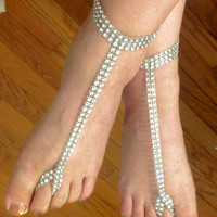 Bride white faux rhinestone foot jewelry perfect for beach wedding or just as barefoot sandals. Gypsy, boho style body jewelry.