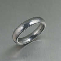 5mm Hammered Domed Stainless Steel Men's Ring - Makes a Great 11th Wedding Anniversary Gift! - Handmade Jewelry by John S Brana