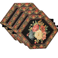 Tache 4 Piece Country Rustic Floral Midnight Awakening Table Runner/Placemats , 13x17