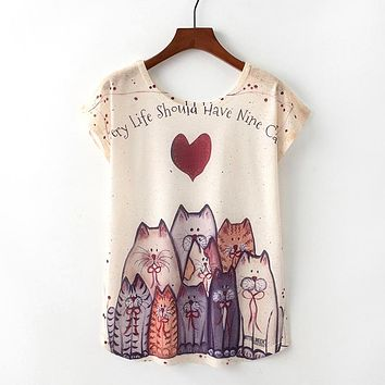 Every Life Should Have A Nine Cats T-Shirt - Ladies Crew Neck Novelty Tops